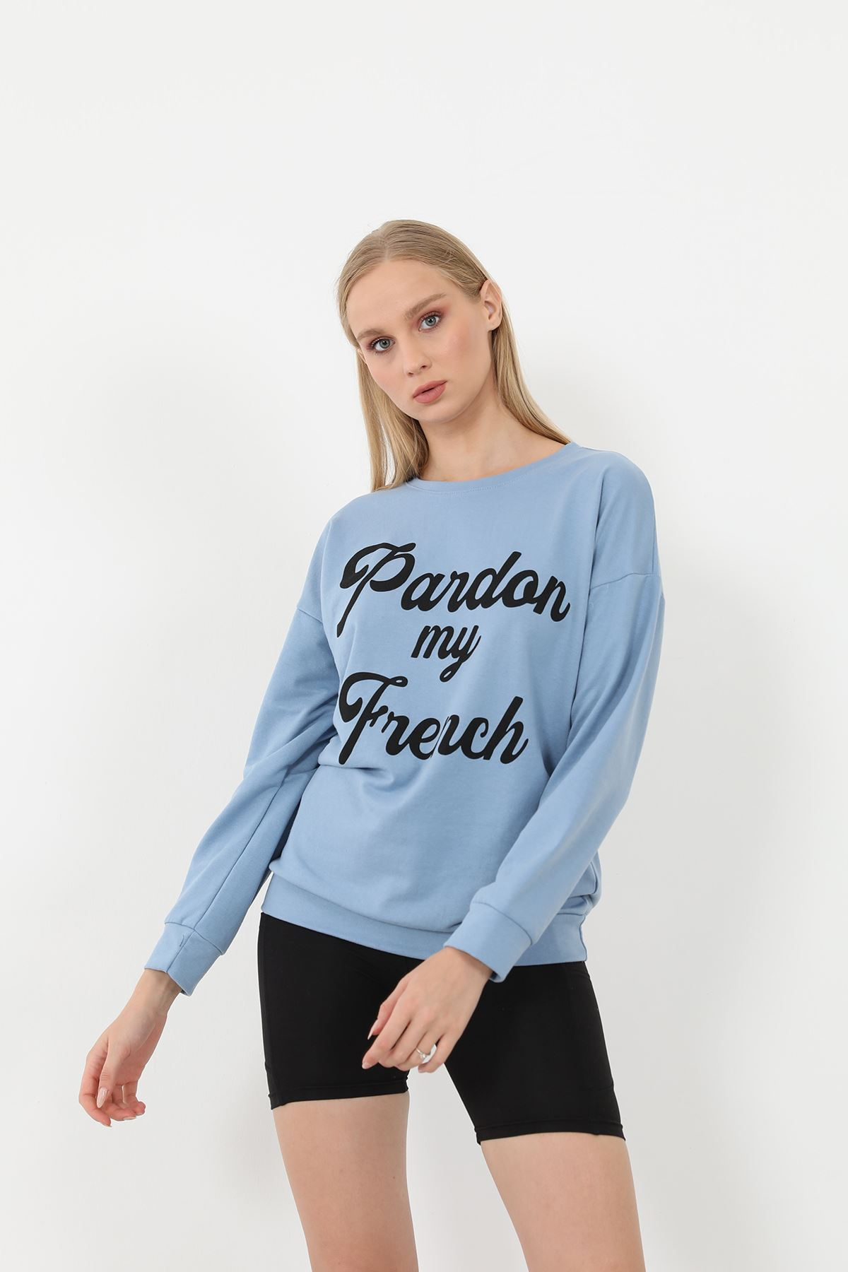 Baskılı Sweatshirt-Mavi