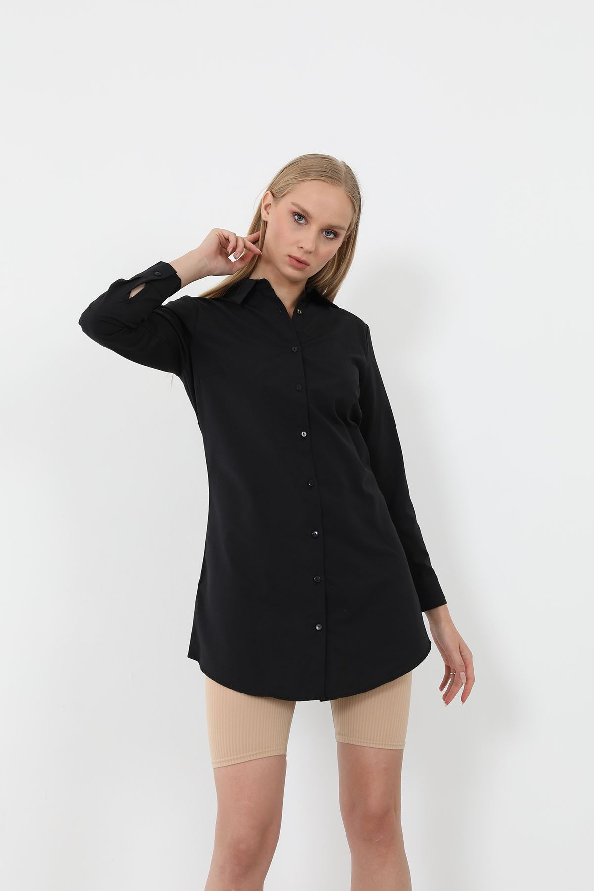 Poplin Gömlek-Siyah