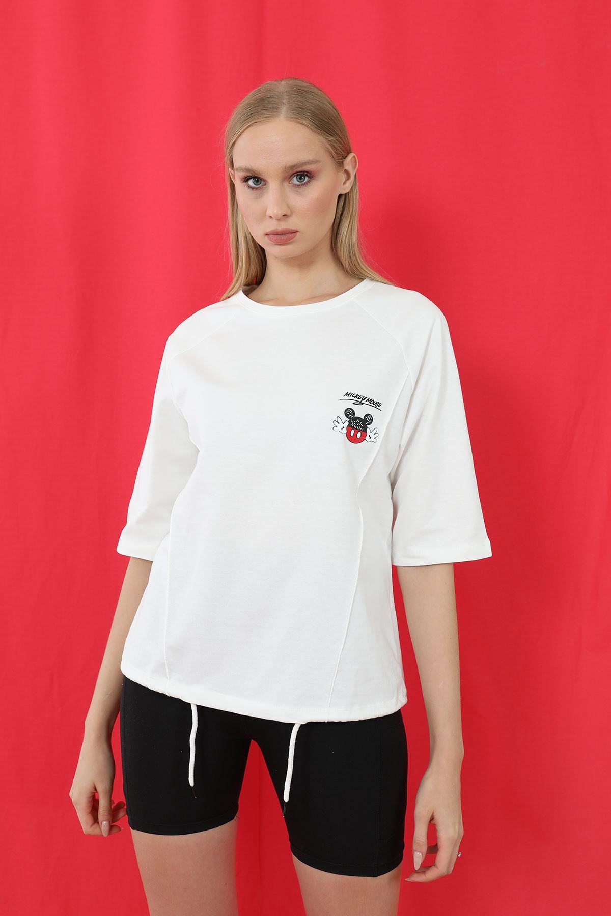 Mickey Mouse Baskılı Sweatshirt-Ekru