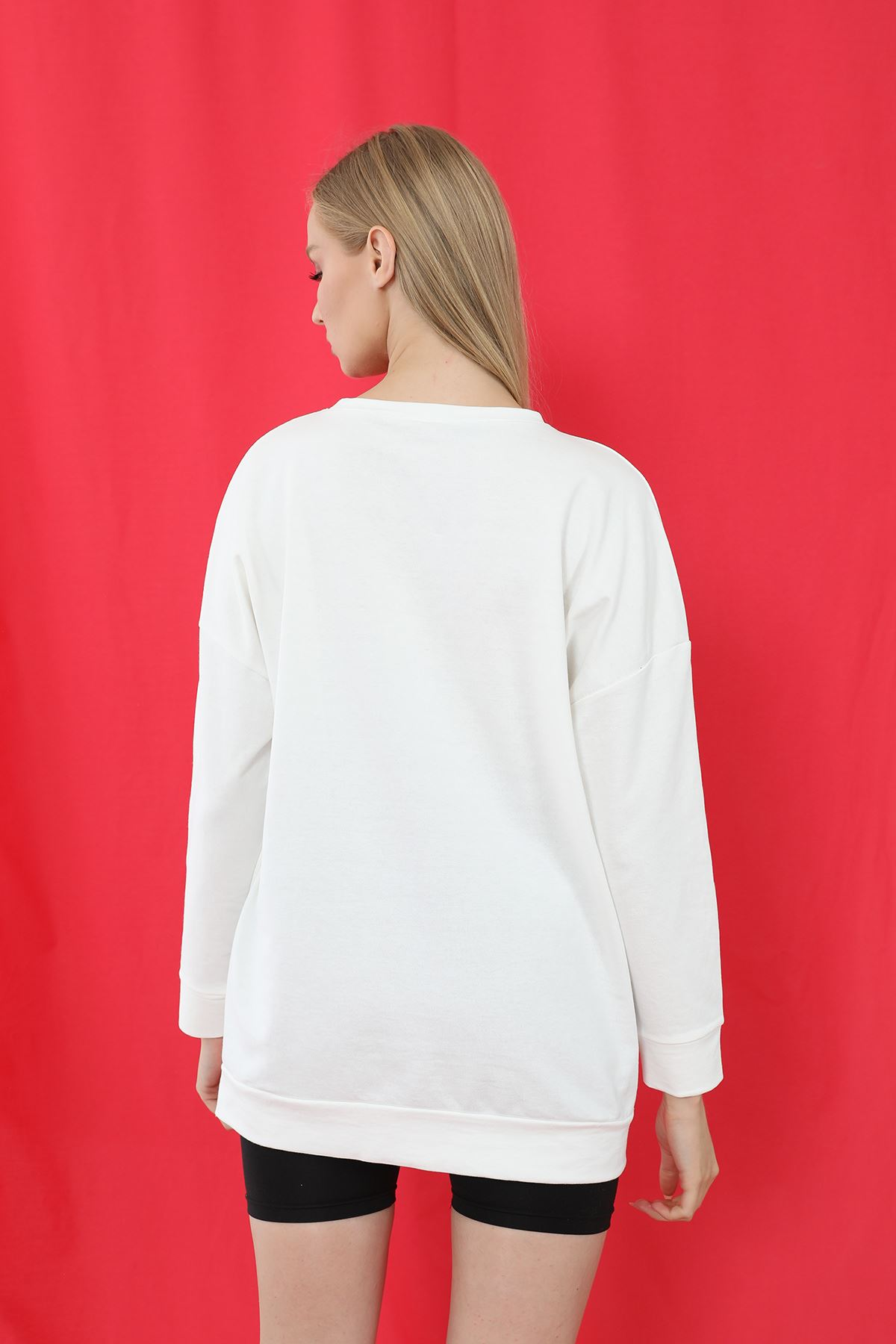 Brooklyn Baskılı Sweatshirt-Beyaz