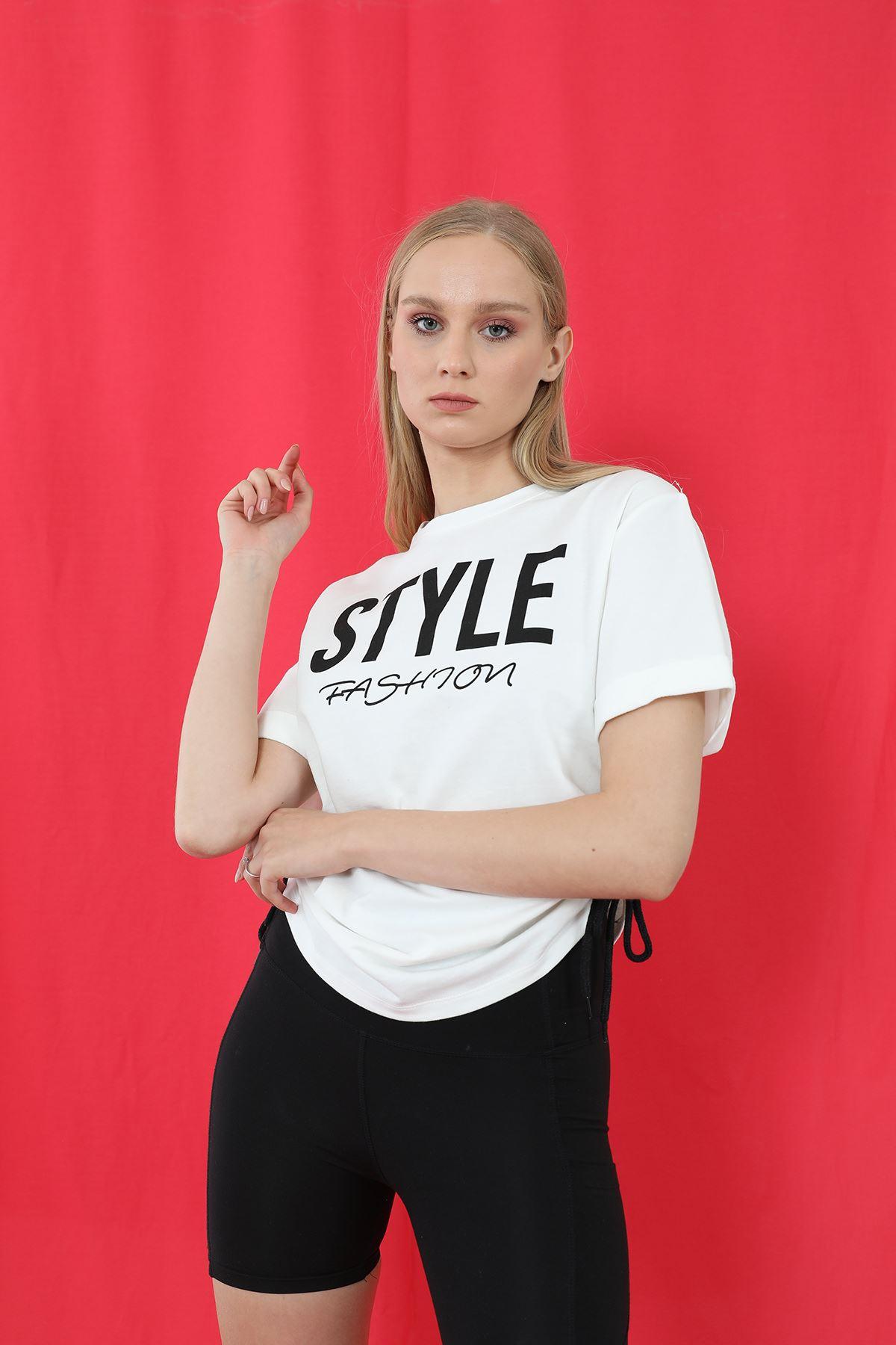 Style Baskılı Sweatshirt-Beyaz