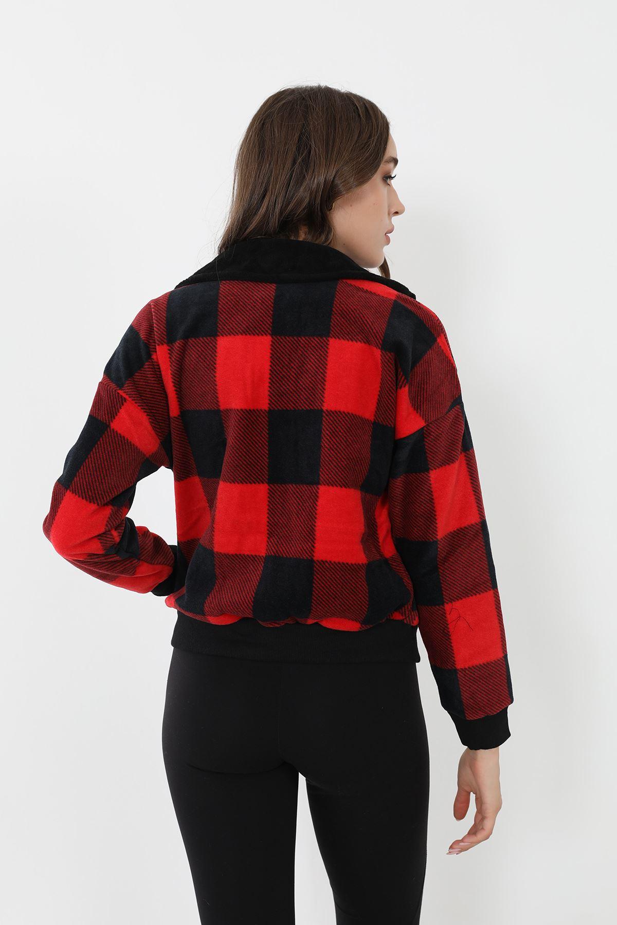 Ekose Peluş Ceket-Kırmızı