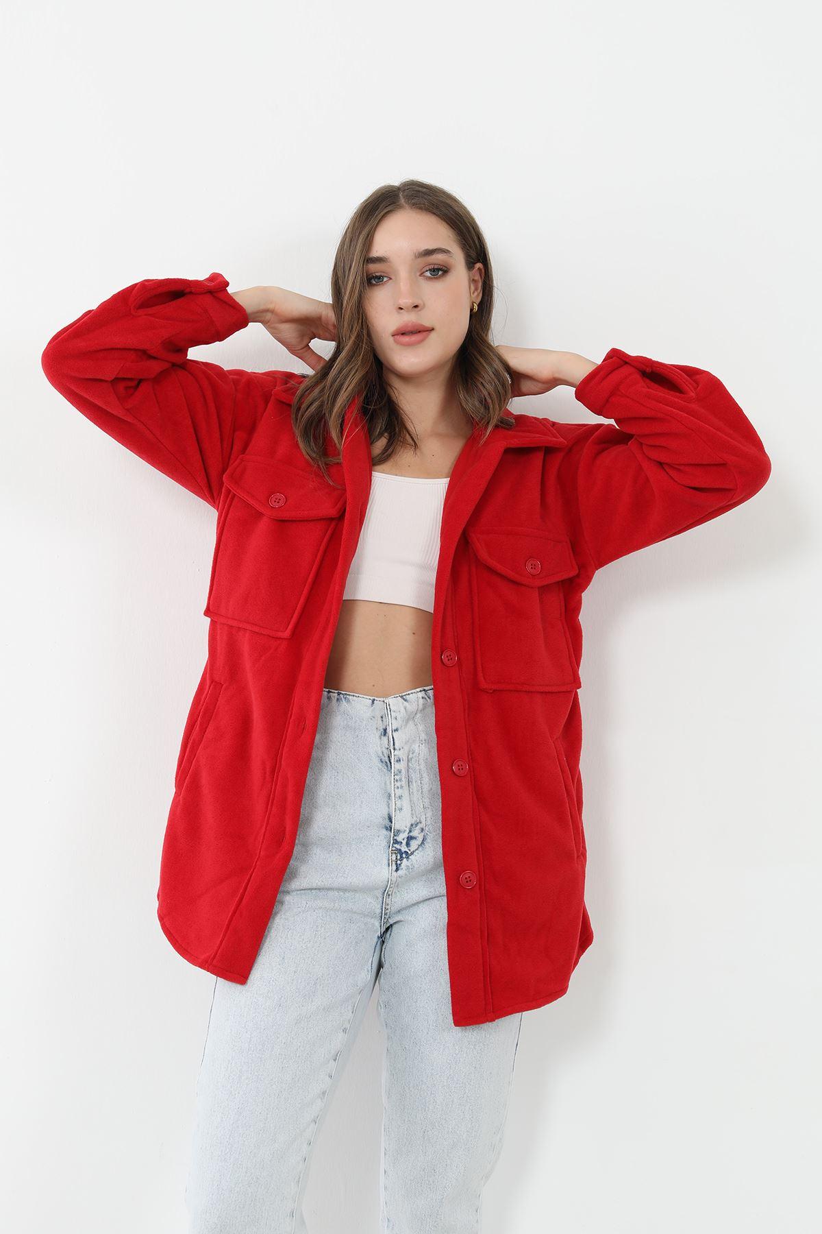 Cepli Polar Ceket-Kırmızı