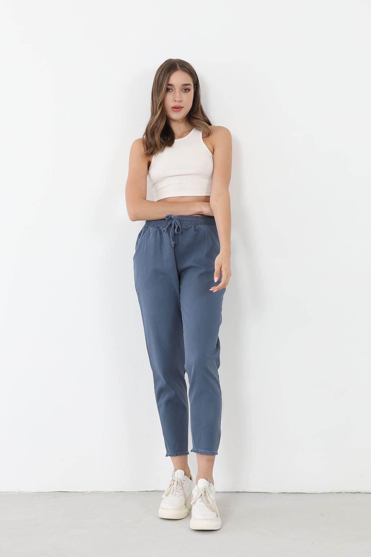 Beli Lastikli Pantolon-İndigo