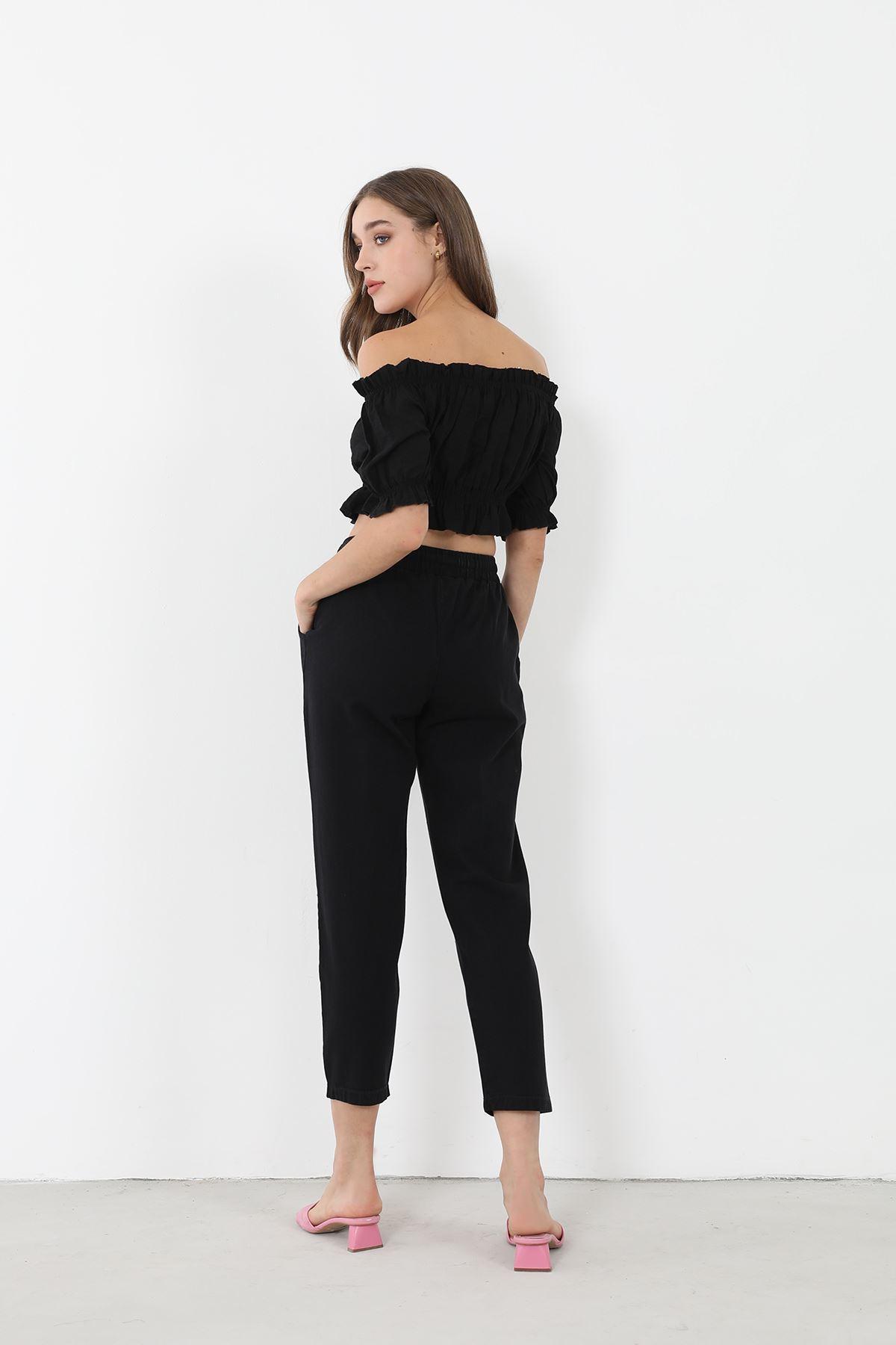 Düz Paça Pantolon-Siyah