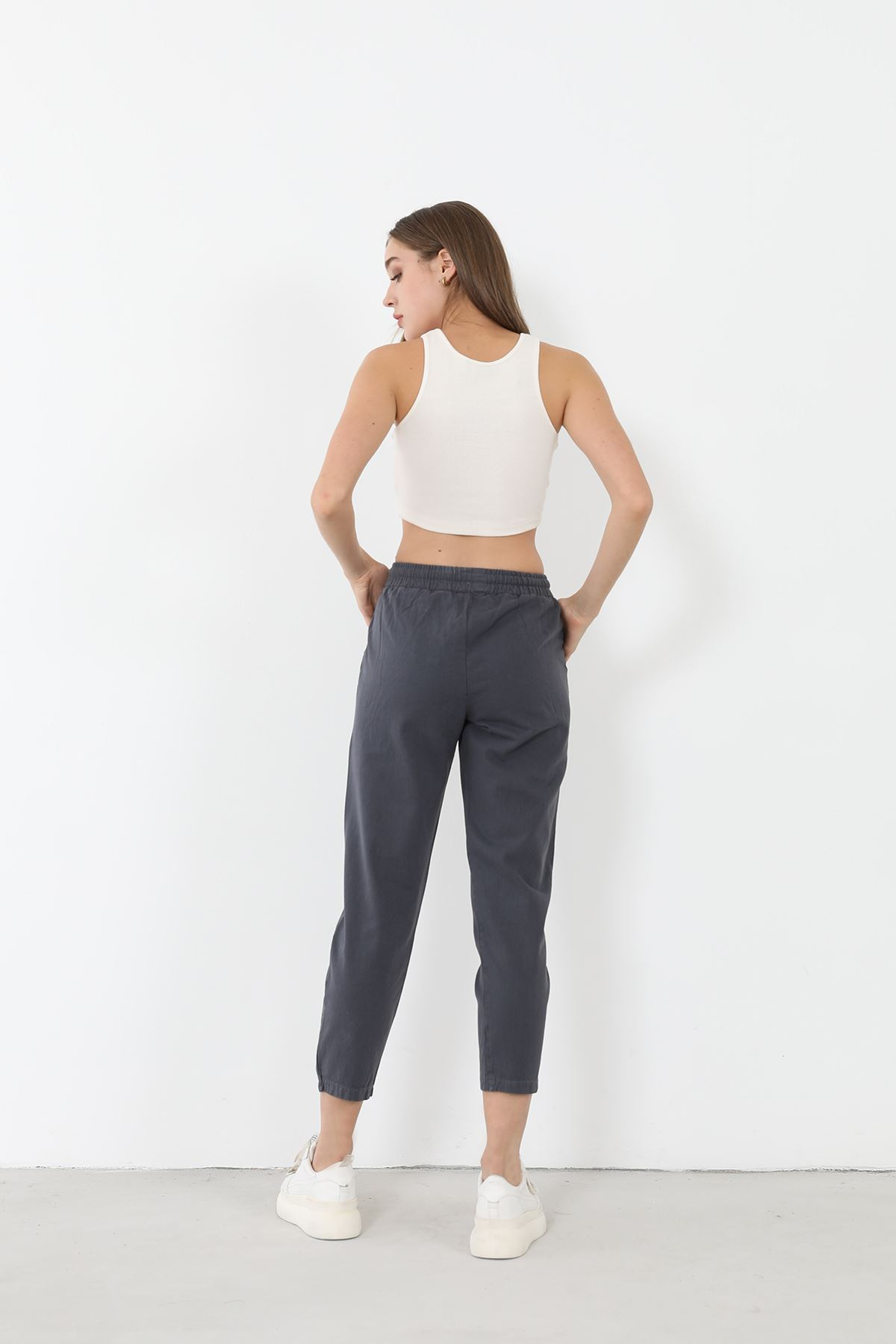 Düz Paça Pantolon-Füme