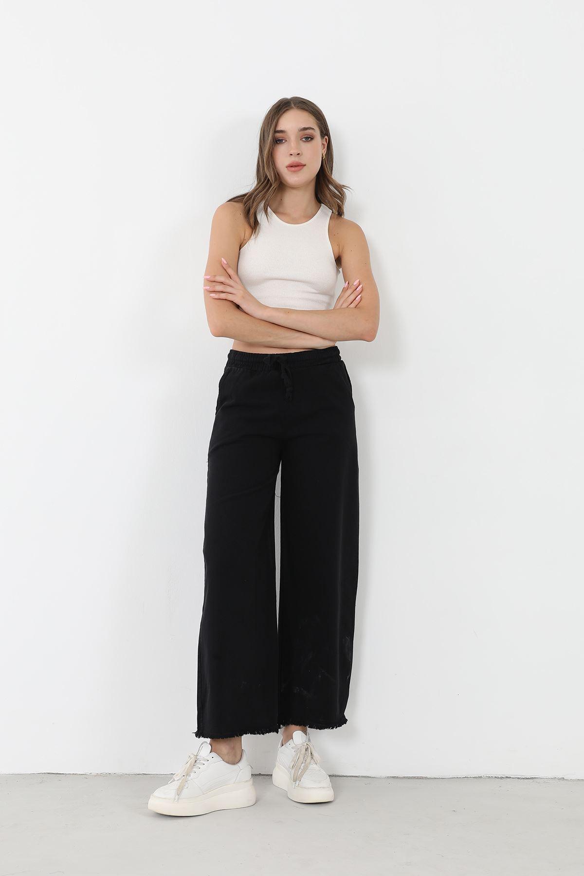 Bol Paça Kuşaklı Pantolon-Siyah