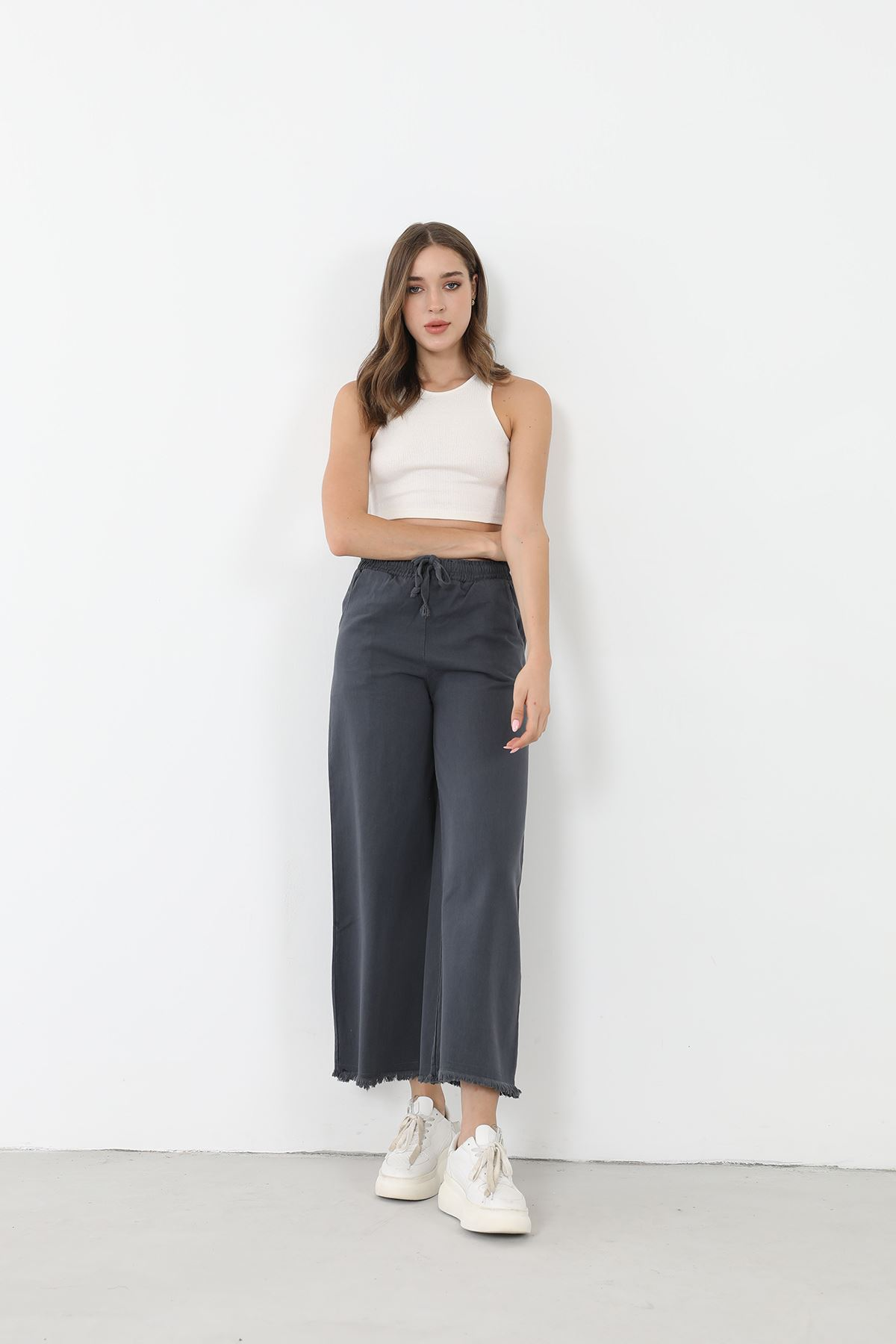 Bol Paça Kuşaklı Pantolon-Füme