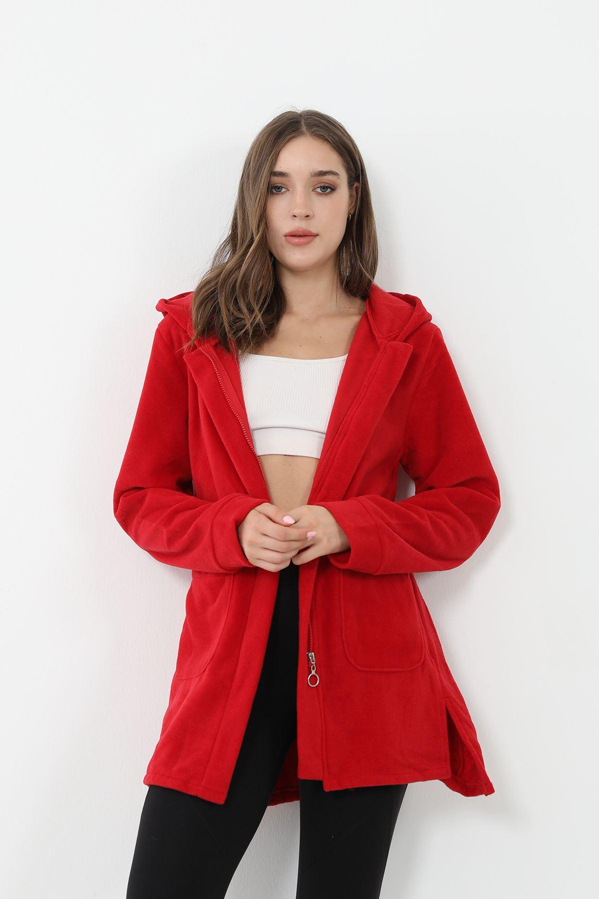 Fermuarlı Polar Sweatshirt-Kırmızı