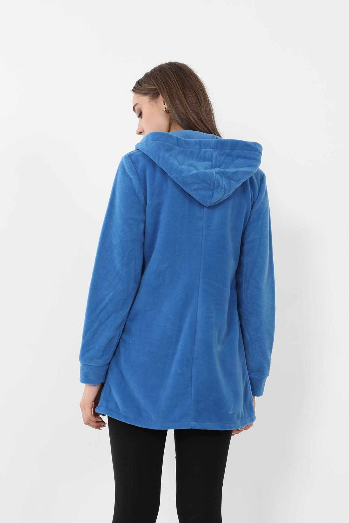 Fermuarlı Polar Sweatshirt-Saks