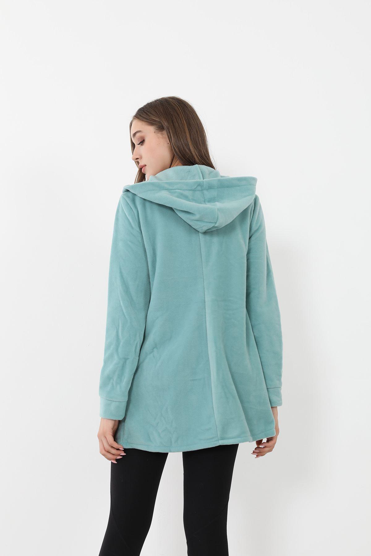 Fermuarlı Polar Sweatshirt-Mint