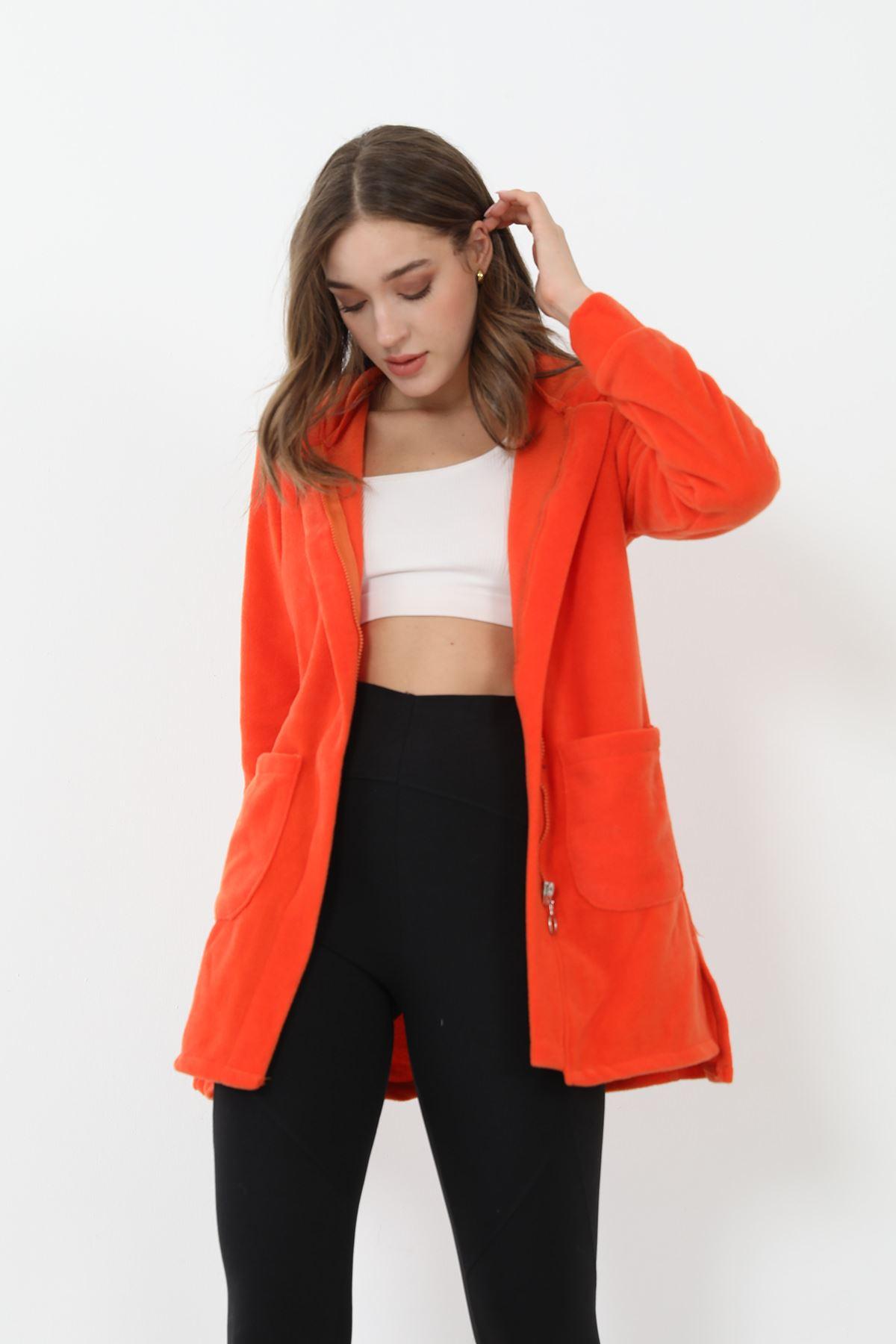 Fermuarlı Polar Sweatshirt-Oranj