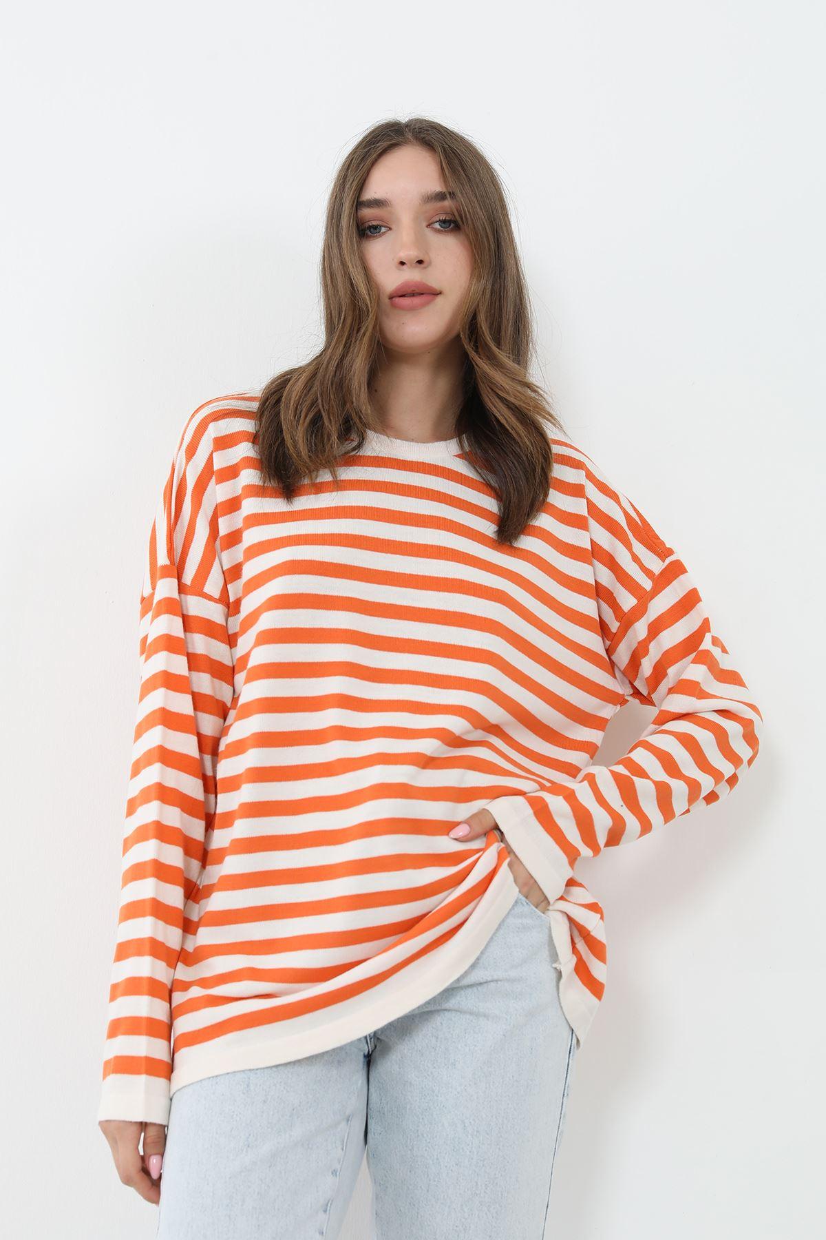 Çizgili Triko Bluz-Oranj