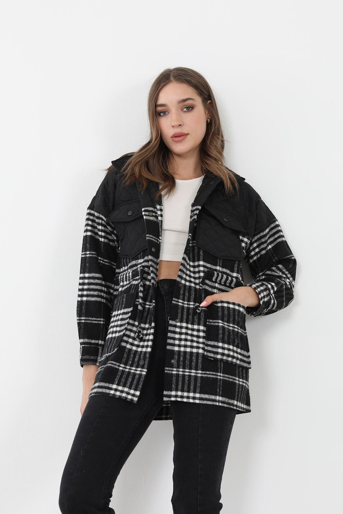 Ekose Desen Ceket-Siyah