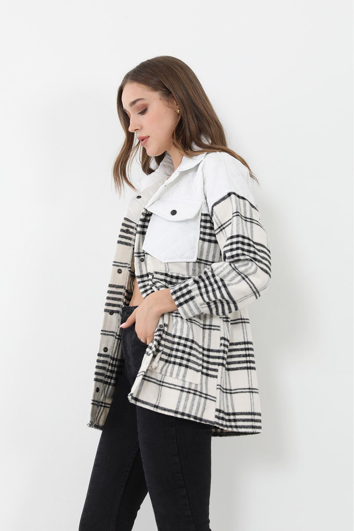 Ekose Desen Ceket-Beyaz