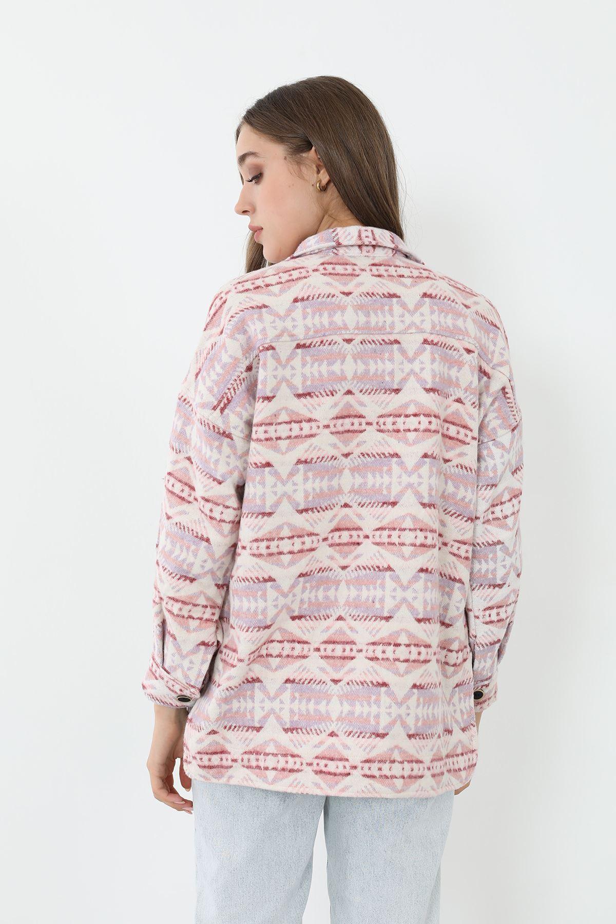 Etnik Desen Kaşe Gömlek-Pudra