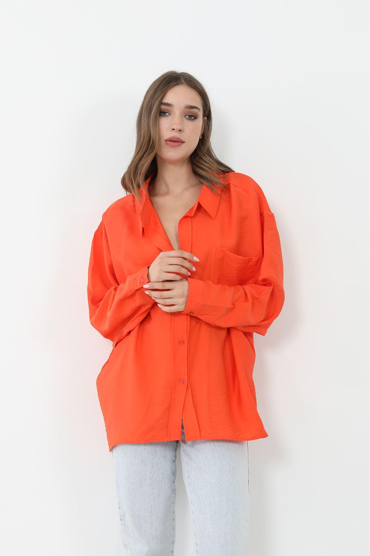 Salaş Cepli Gömlek-Oranj