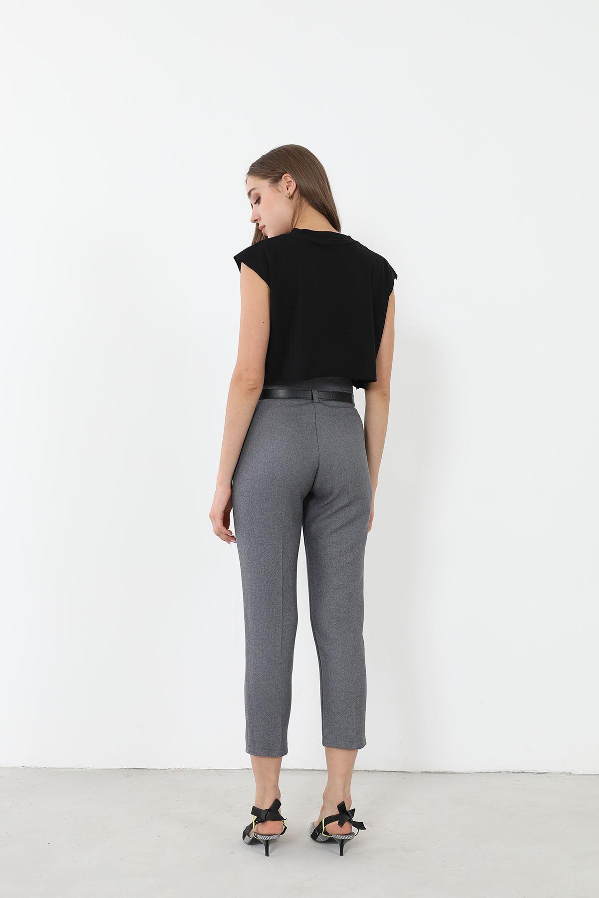 Kemerli Düz Paça Pantolon-Füme
