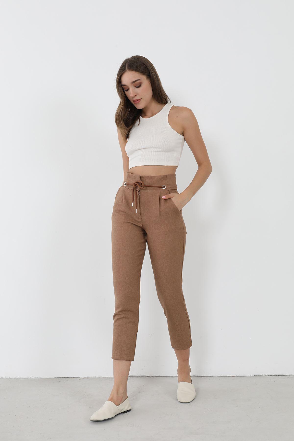 Bağcıklı Kumaş Pantolon-Camel