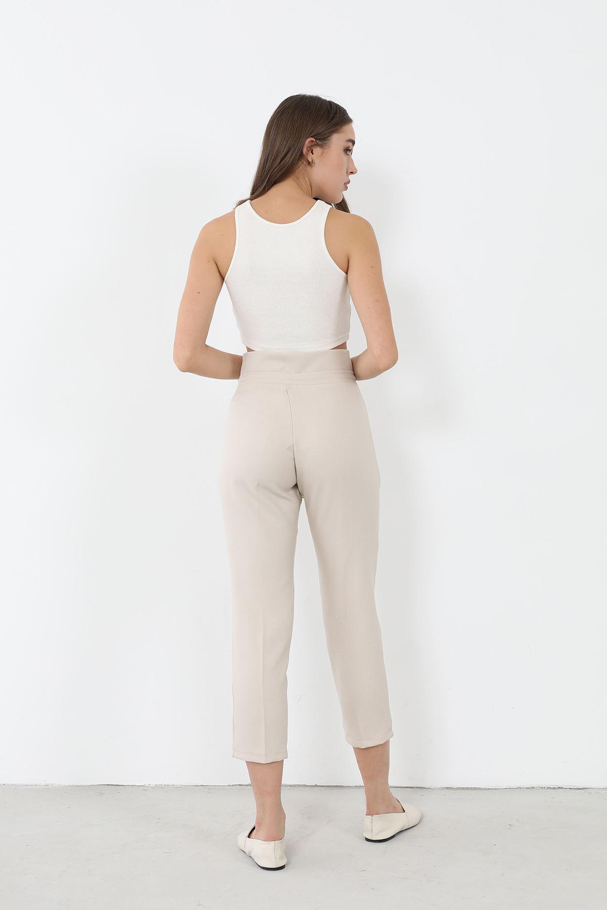Bağcıklı Kumaş Pantolon-Bej