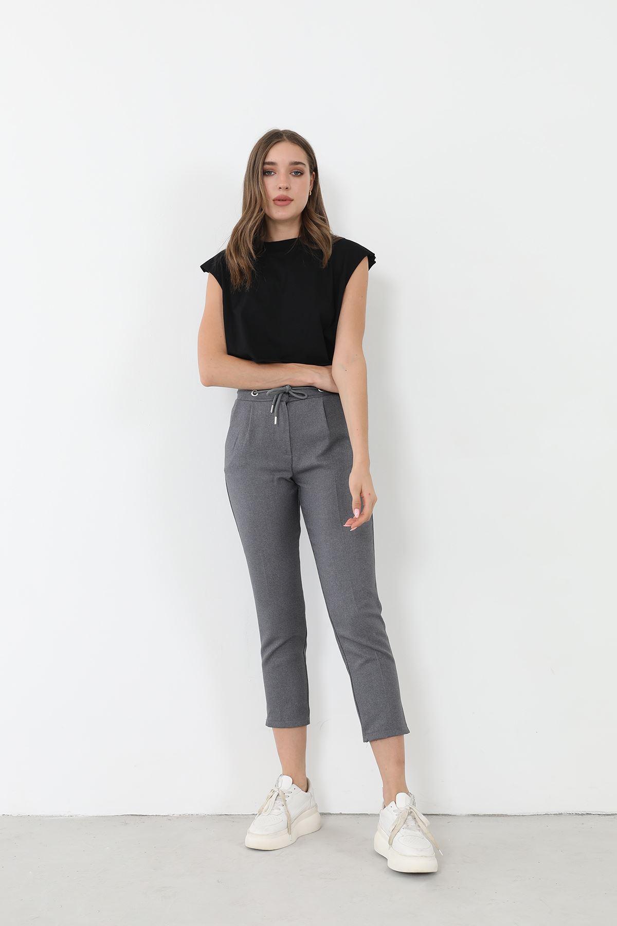 Bağcıklı Kumaş Pantolon-Füme