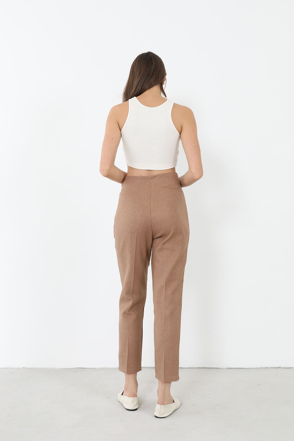 Yüksek Bel Kumaş Pantolon-Camel