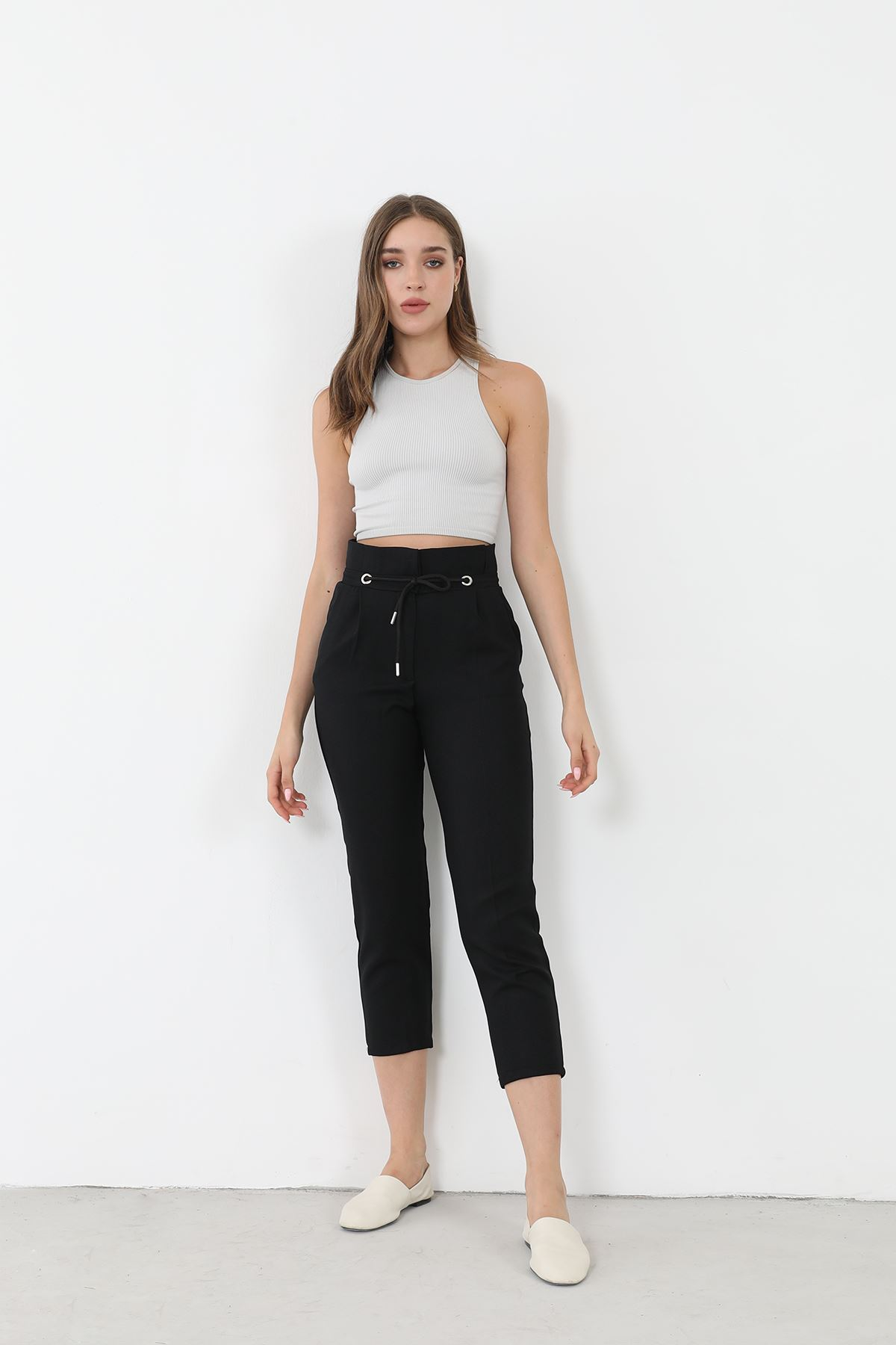 Bağcıklı Kumaş Pantolon-Siyah
