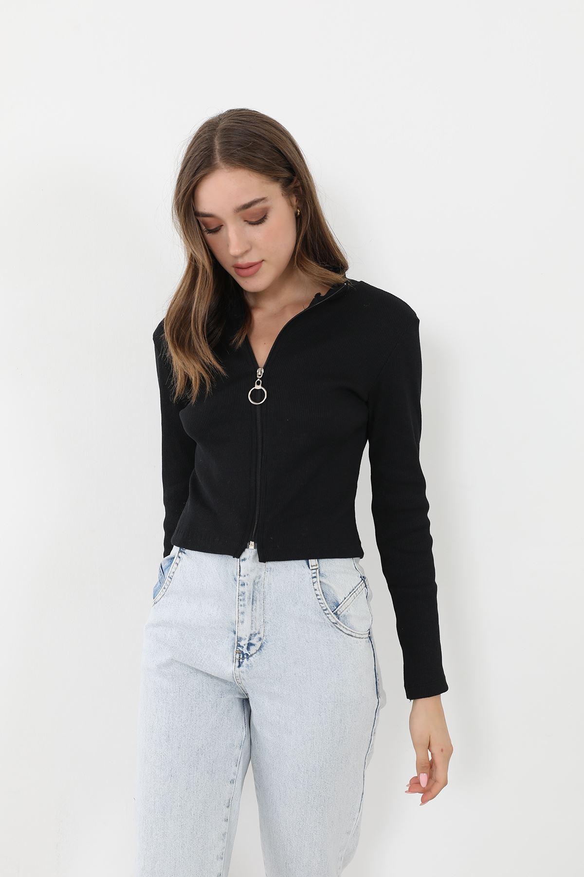 Dik Yaka Fermuarlı Bluz-Siyah