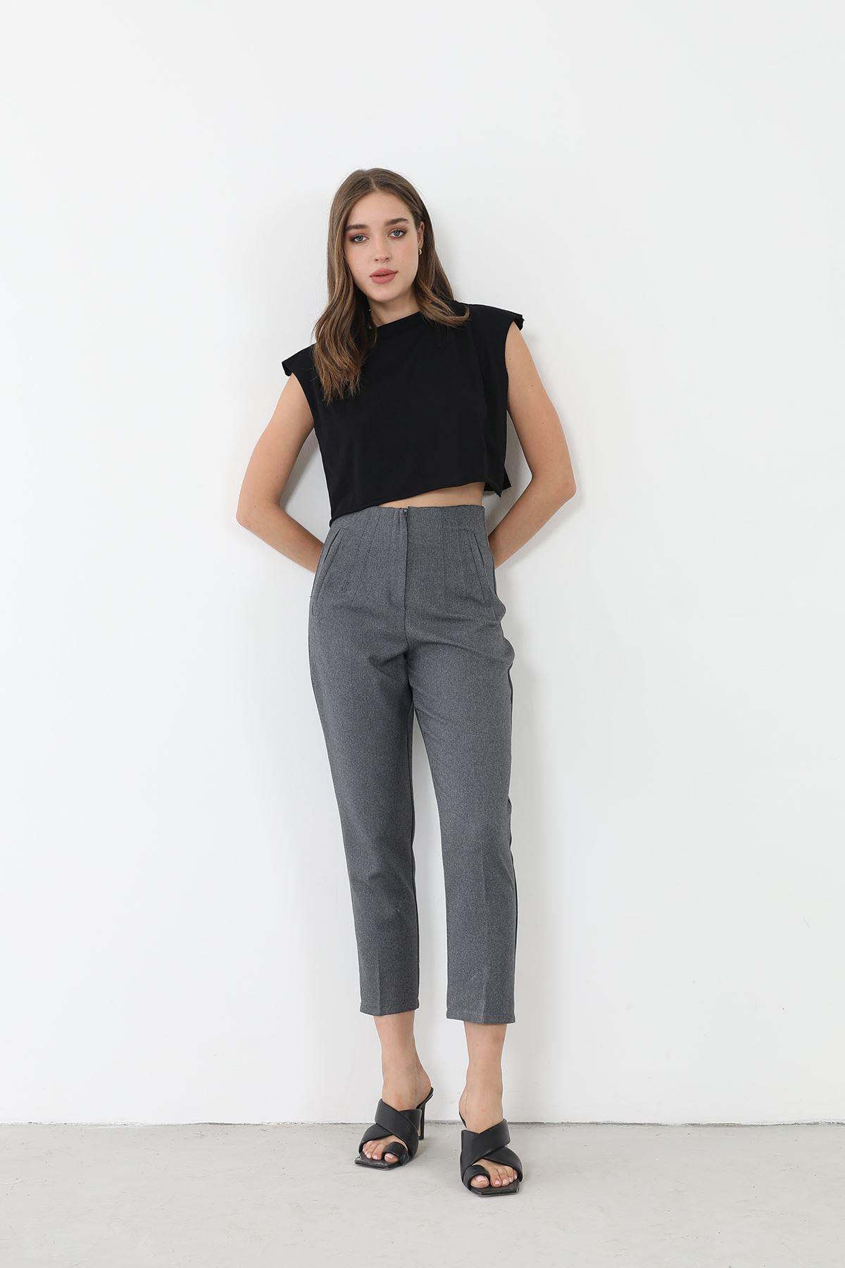 Yüksek Bel Kumaş Pantolon-Füme