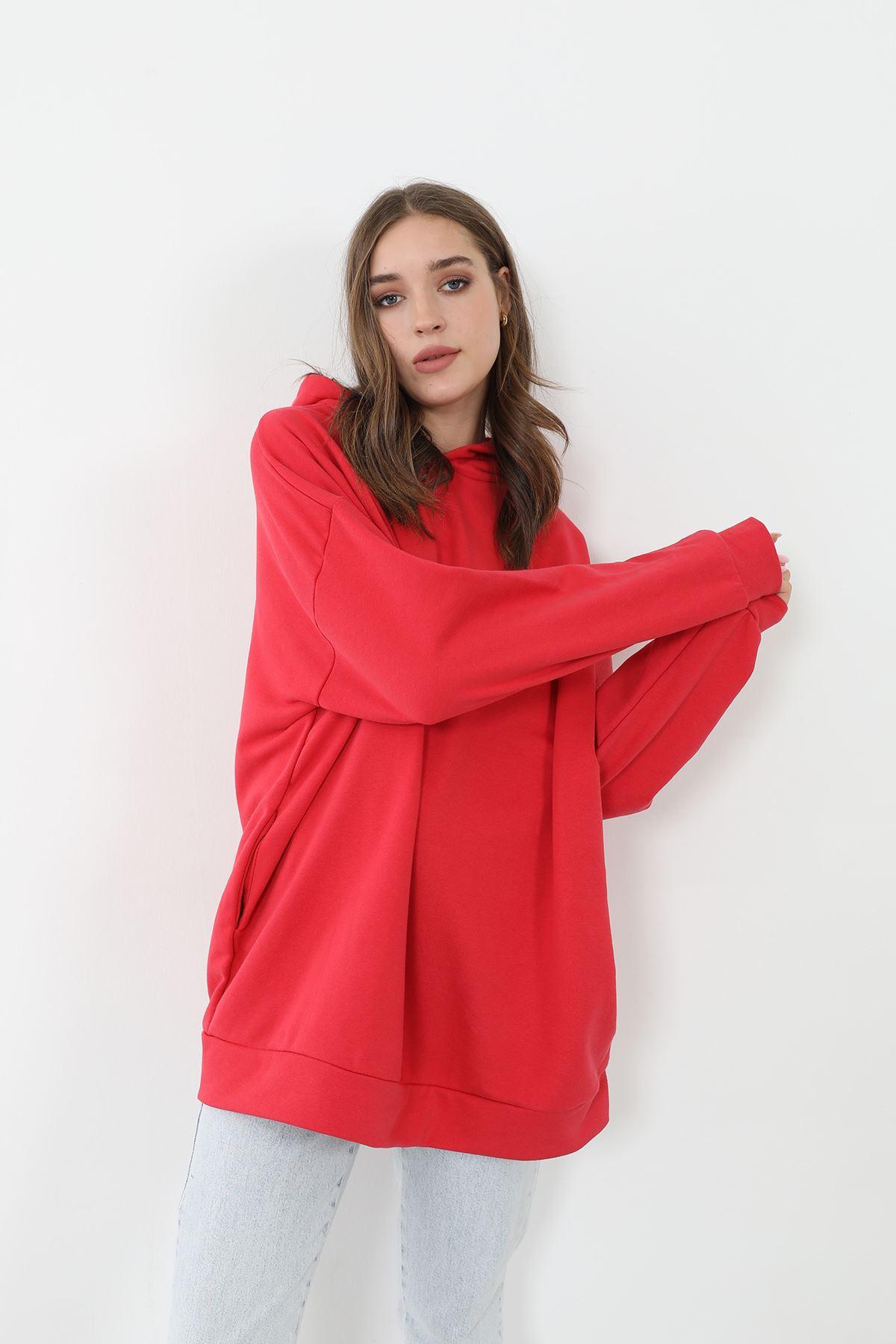 Kapüşonlu Sweatshirt-Kırmızı