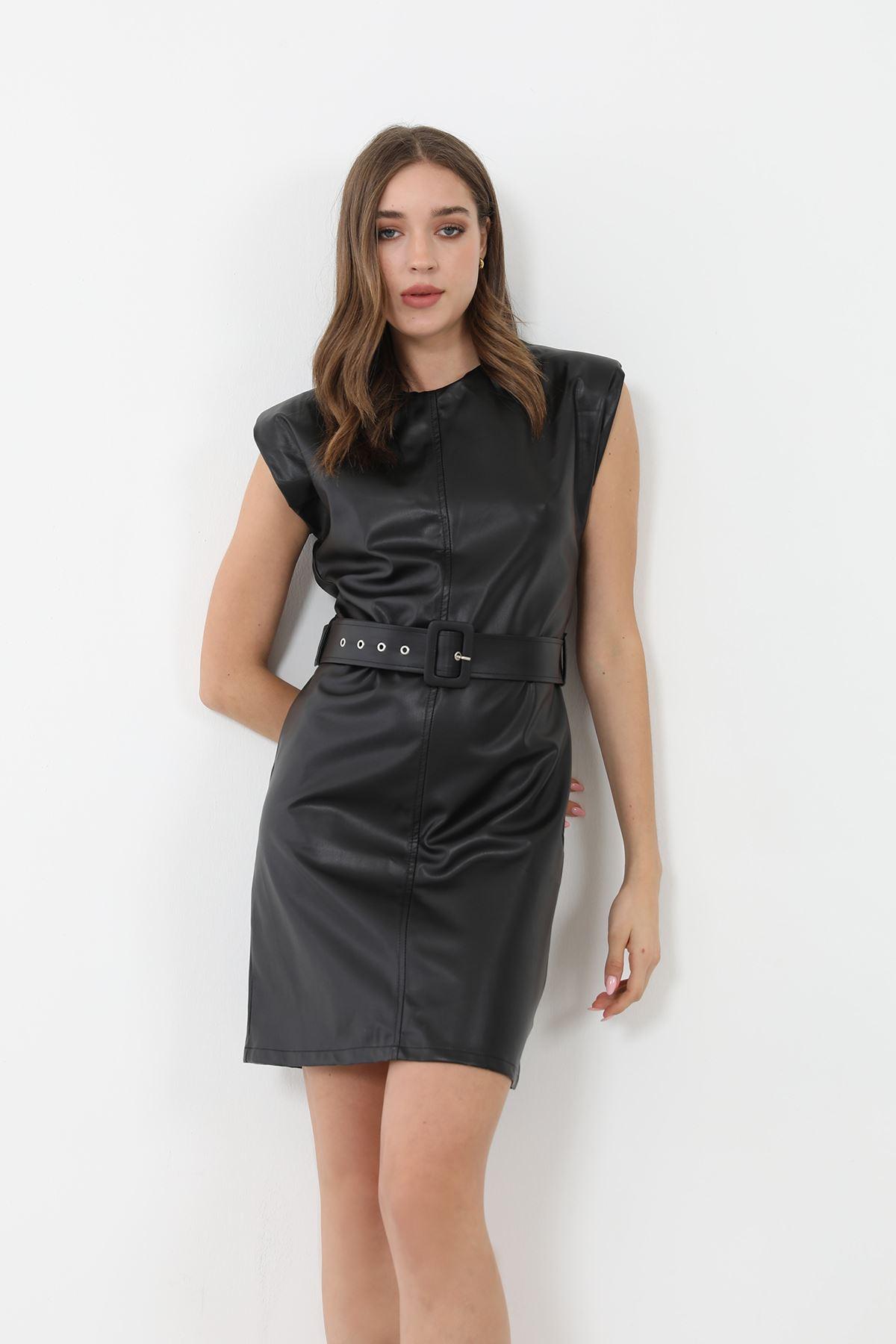 Vatkalı Deri Elbise-Siyah