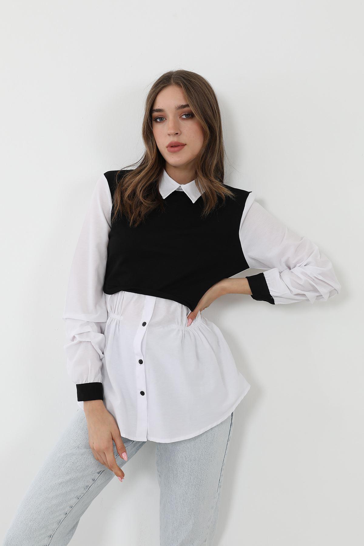 Garnili Poplin gömlek-Siyah
