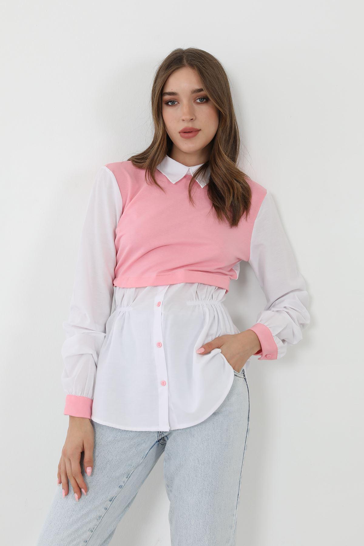 Garnili Poplin gömlek-Pembe