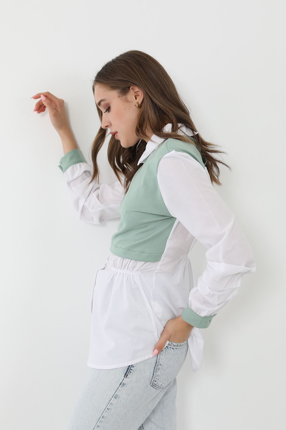 Garnili Poplin gömlek-Mint