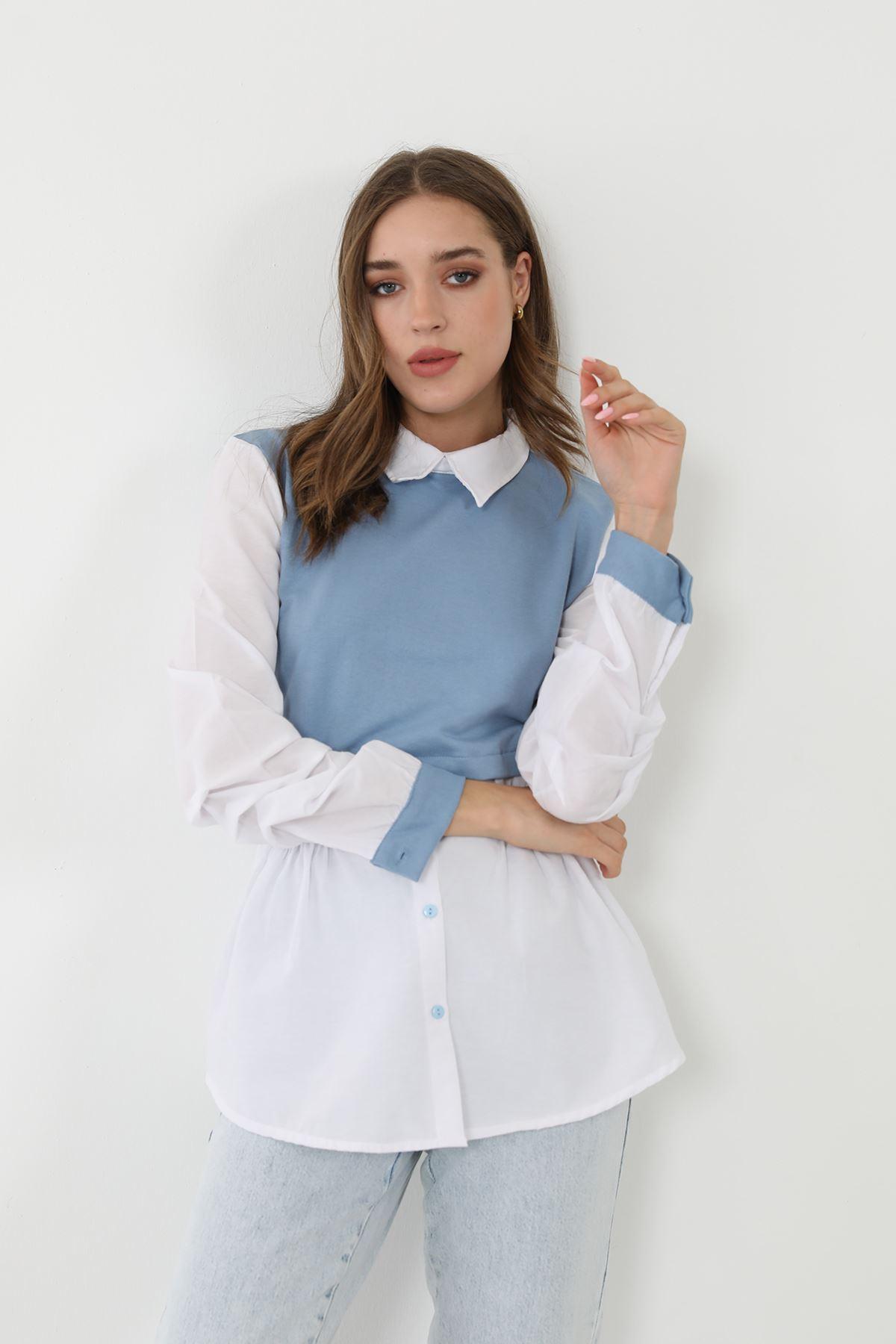Garnili Poplin gömlek-Mavi