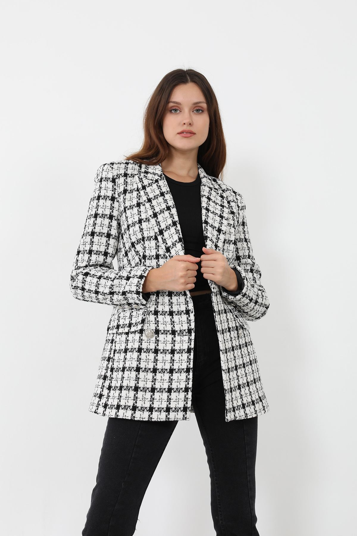 Kazayağı Tuvit Ceket-Siyah