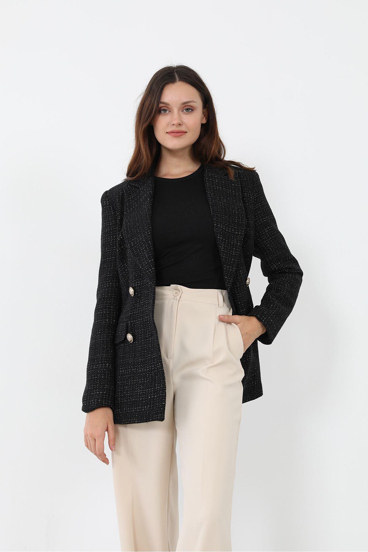 Simli Tuvit Ceket-Siyah
