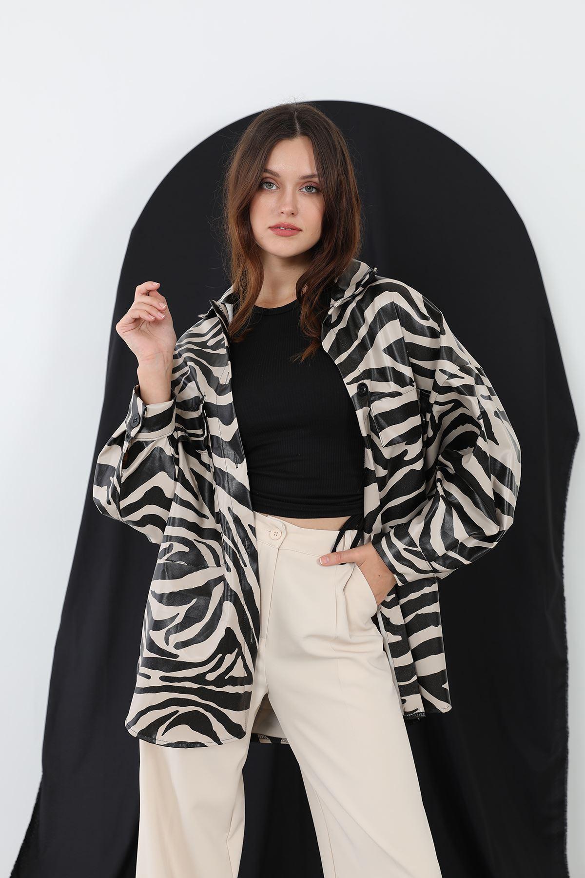 Zebra Desen Deri Gömlek-Taş