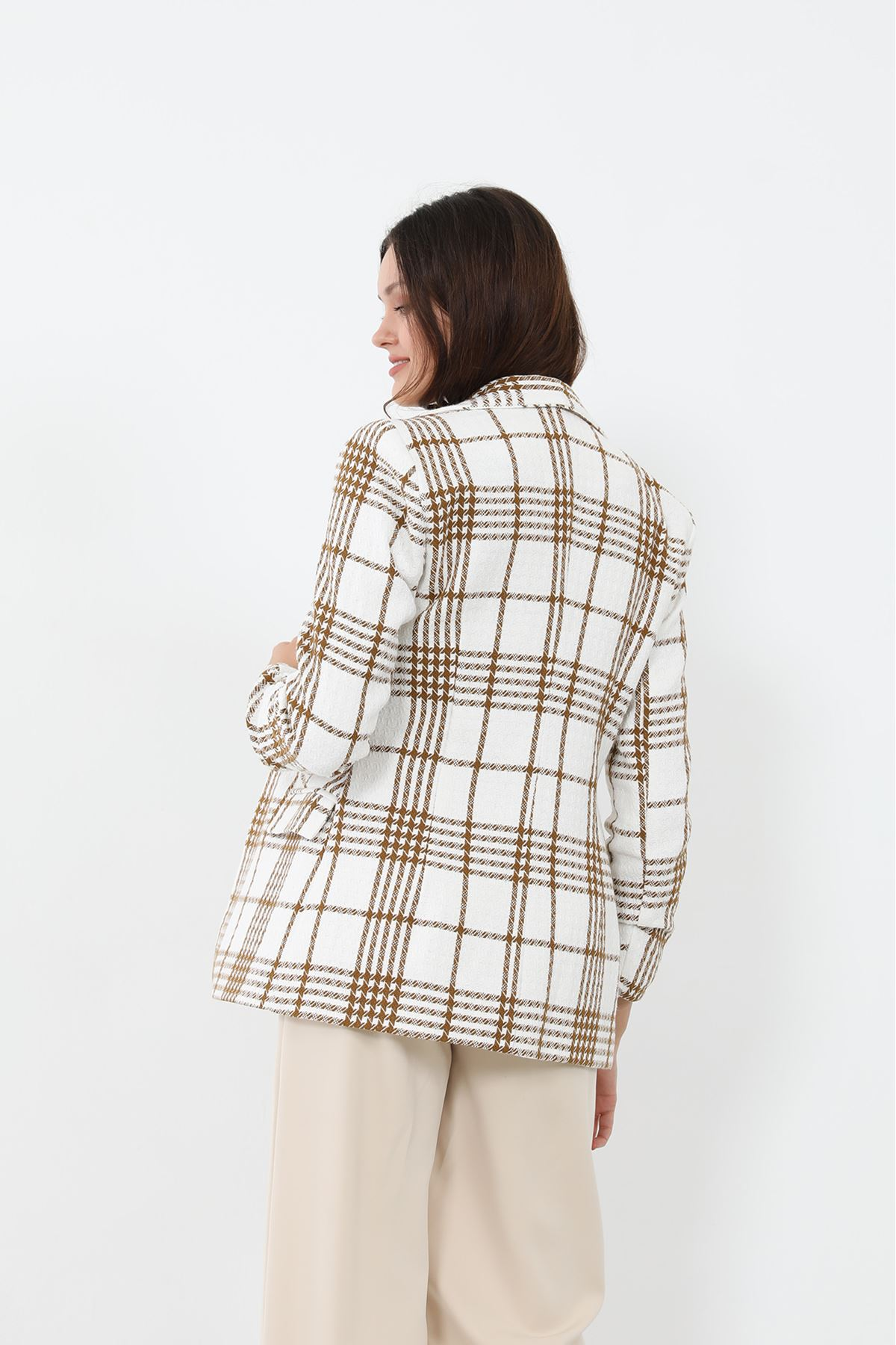 Kare Desen Blazer Ceket-Bej