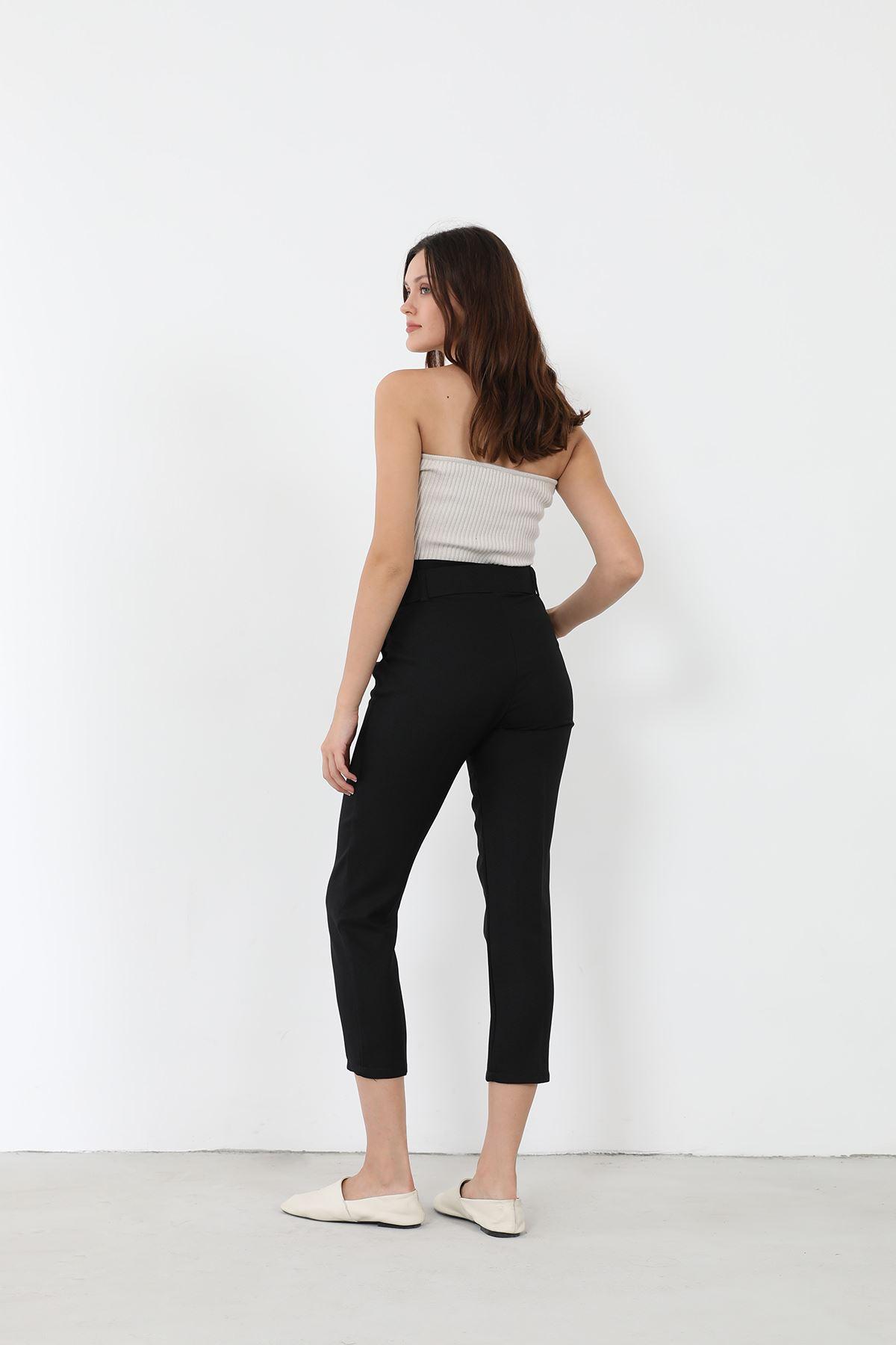 Kemerli Kumaş Pantolon-Siyah