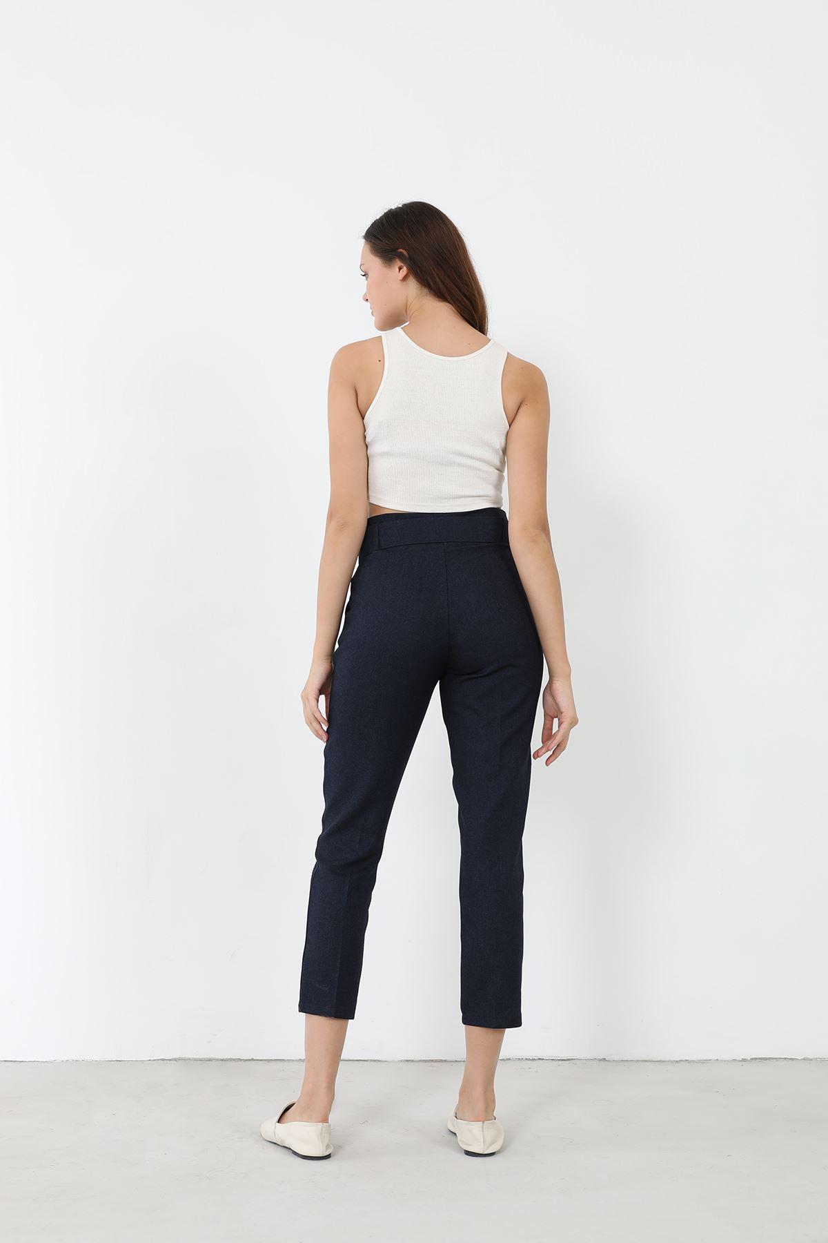 Kemerli Kumaş Pantolon-Lacivert