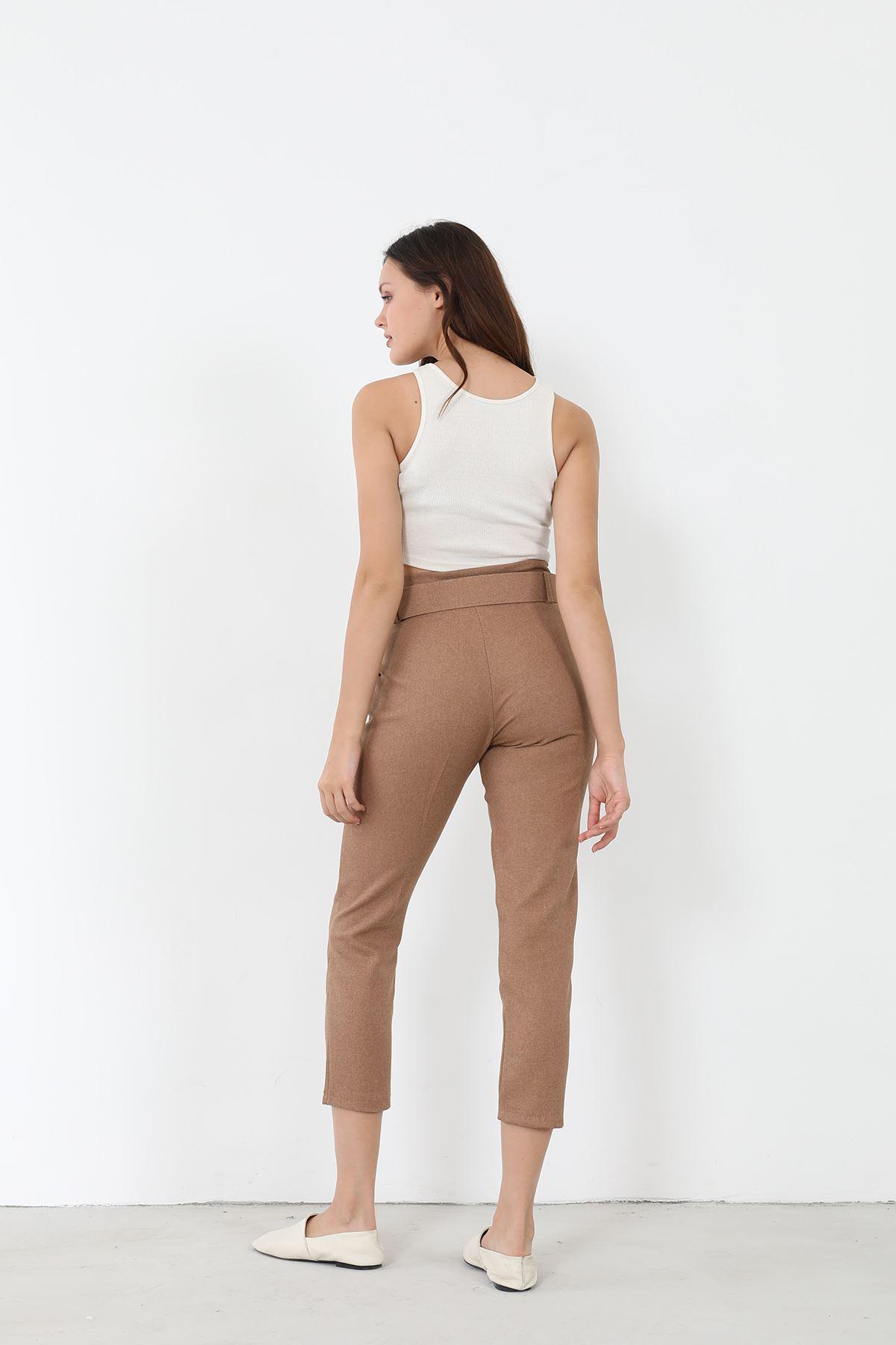 Kemerli Kumaş Pantolon-Camel