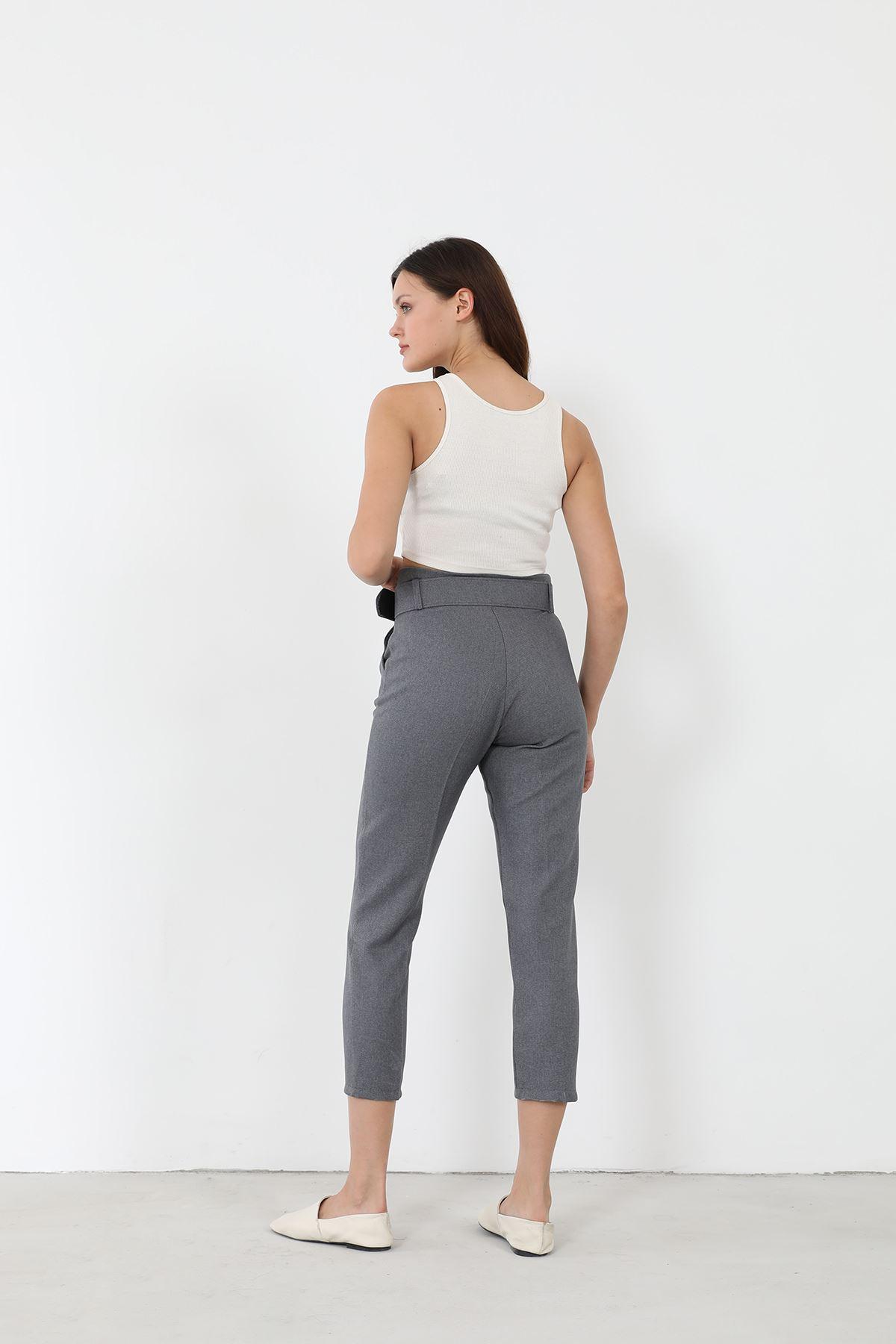 Kemerli Kumaş Pantolon-Gri