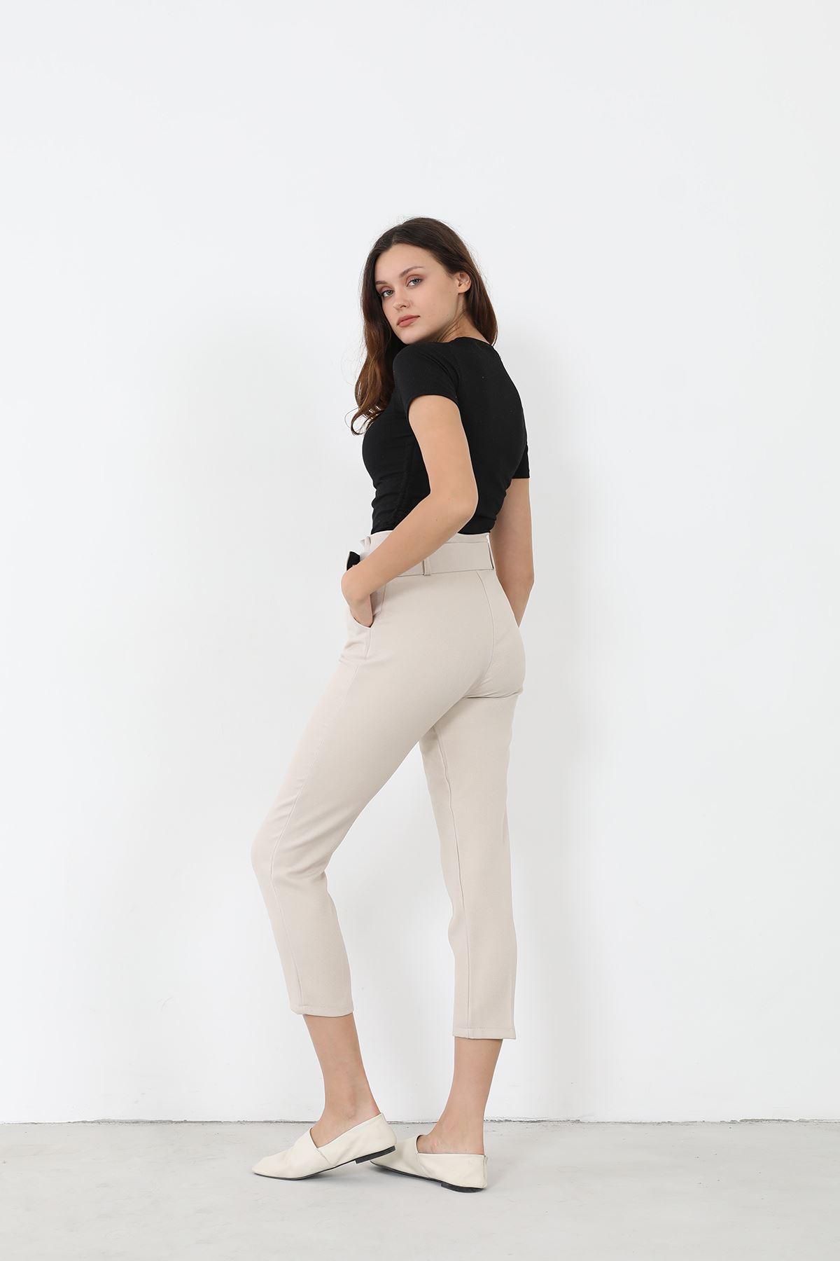 Kemerli Kumaş Pantolon-Ekru