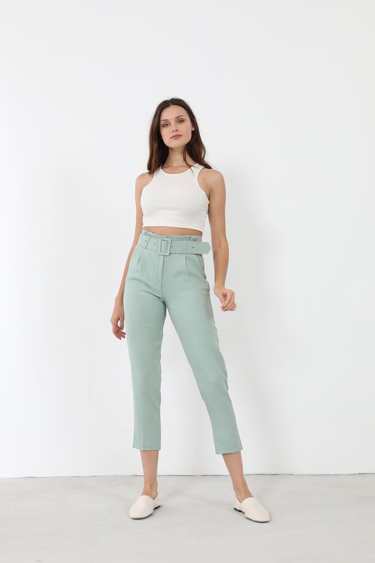 Kemerli Kumaş Pantolon-Mint