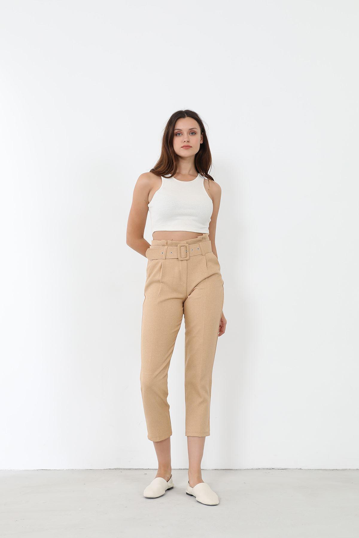 Kemerli Kumaş Pantolon-Bej