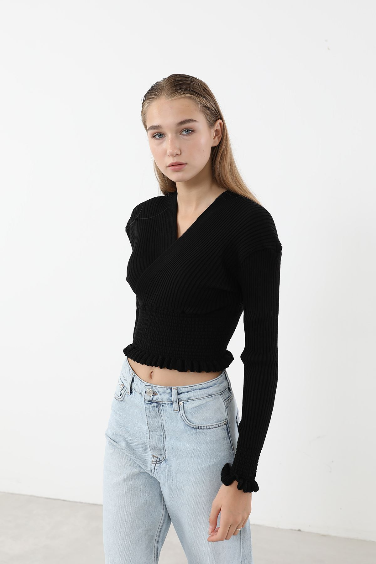 Gipeli Triko Bluz-Siyah