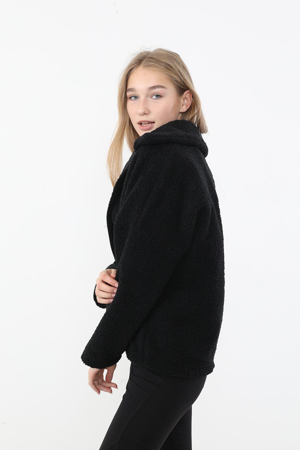 Fermuarlı Peluş Ceket-Siyah