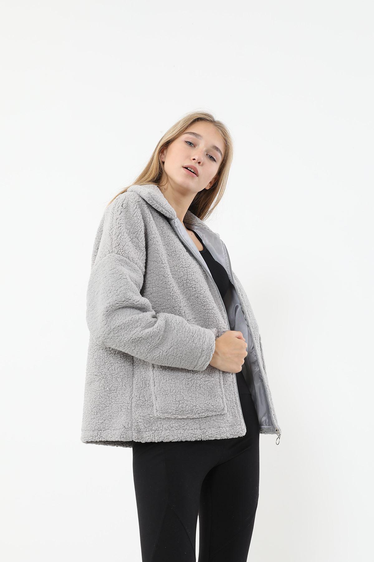 Fermuarlı Peluş Ceket-Gri