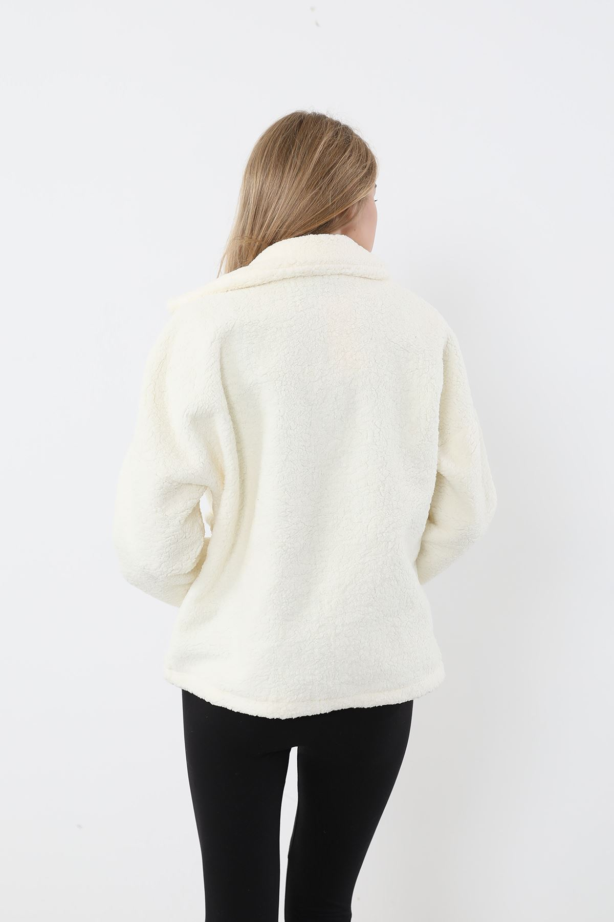 Fermuarlı Peluş Ceket-Ekru